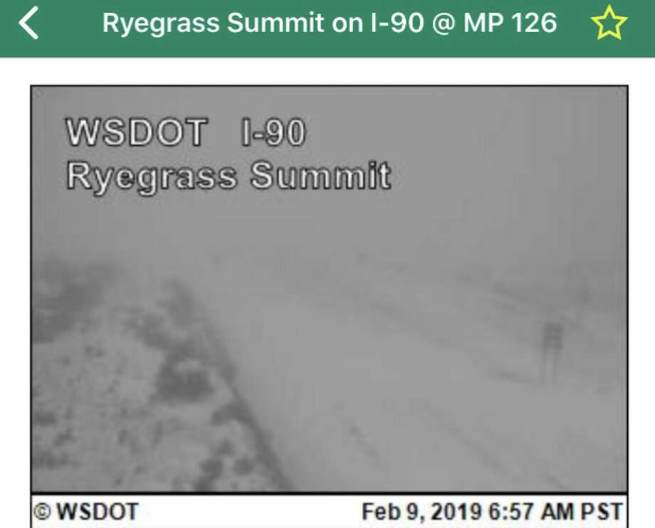 This traffic camera image from WSDOT shows part of the I-90 closure. Photo: WSDOT