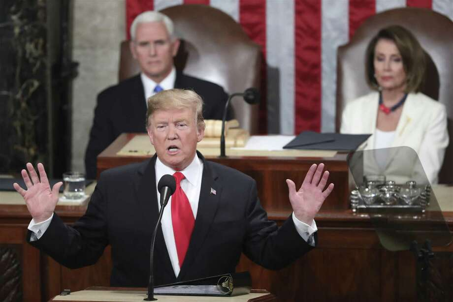 President Donald Trump delivers his State of the Union address to a joint session of Congress on Capitol Hill in Washington Feb. 5, as Vice President Mike Pence and Speaker of the House Nancy Pelosi, D-Calif., watch. Photo: Andrew Harnik / Associated Press / Copyright 2019 The Associated Press. All rights reserved