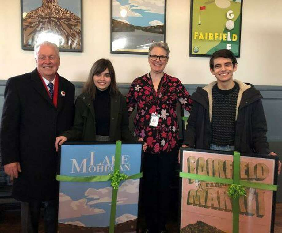 From left, First Selectman Mike Tetreau, Megan Henry, a FWHS junior, FWHS Art Teacher Margaret Capron and Ethan Larkin, a FWHS senior. Photo: Contributed Photo