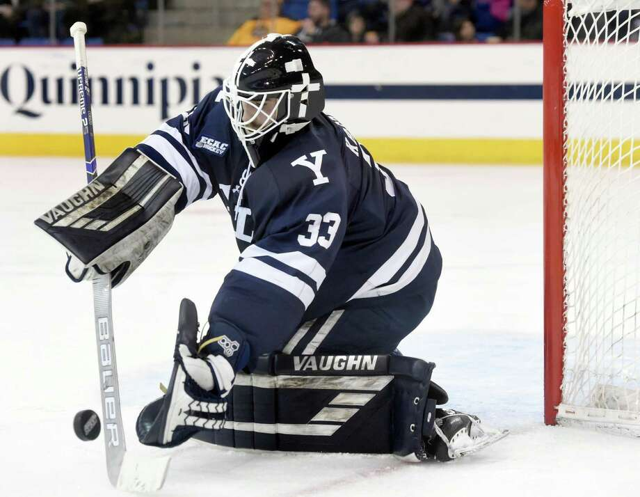 Goalie Corbin Kaczperski and Yale take on Colgate and Cornell this weekend at Ingalls Rink. Photo: Arnold Gold / Hearst Connecticut Media / New Haven Register
