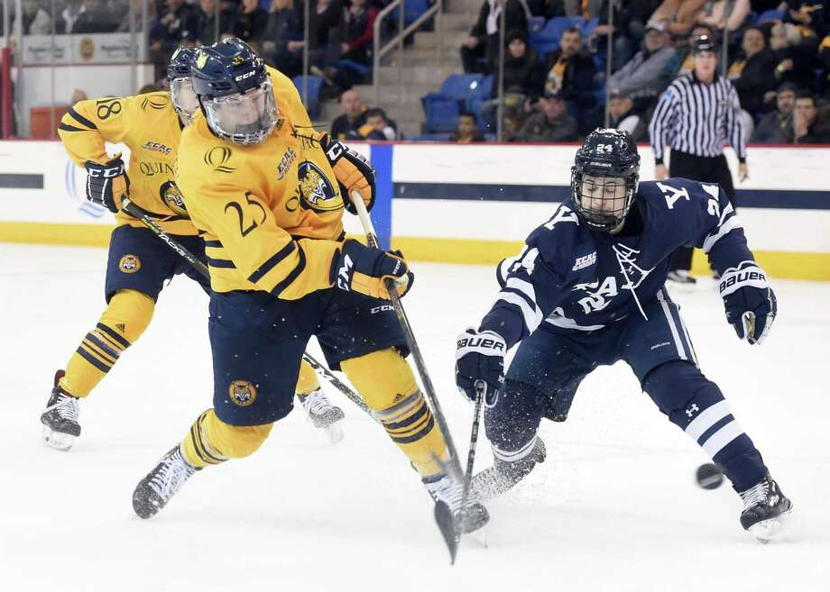 The Quinnipiac and Yale men's hockey teams will meet on Saturday in the regular-season finale for both teams. Photo: Arnold Gold / Hearst Connecticut Media / New Haven Register