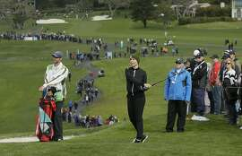 Kira Kazantsev follows her approach shot to the sixth green of the Pebble Beach Golf Links during the third round of the AT&T Pebble Beach Pro-Am golf tournament Saturday, Feb. 9, 2019, in Pebble Beach, Calif. (AP Photo/Eric Risberg)