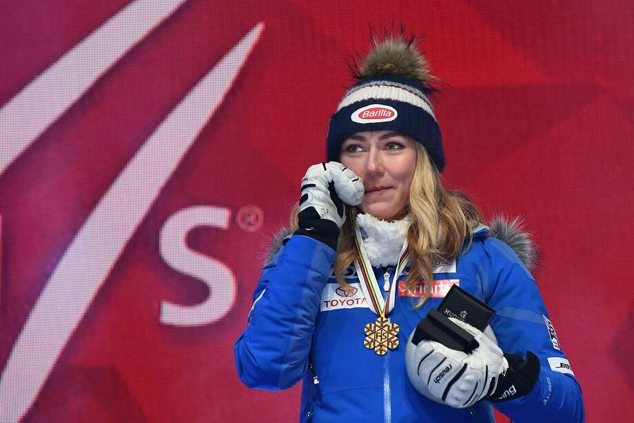 Gold medalist US Mikaela Shiffrin reacts during the medal ceremony of the women's Super G event of the 2019 FIS Alpine Ski World Championships in Are, Sweden, on February 5, 2019. (Photo by Jonathan NACKSTRAND / AFP)JONATHAN NACKSTRAND/AFP/Getty Images Photo: Jonathan Nackstrand / AFP / Getty Images
