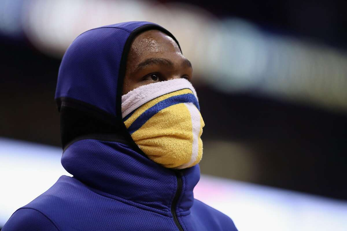 PHOENIX, ARIZONA - FEBRUARY 08: Kevin Durant #35 of the Golden State Warriors walks on on the court during a time-out from the first half of the NBA game against the Phoenix Suns at Talking Stick Resort Arena on February 08, 2019 in Phoenix, Arizona. (Photo by Christian Petersen/Getty Images)