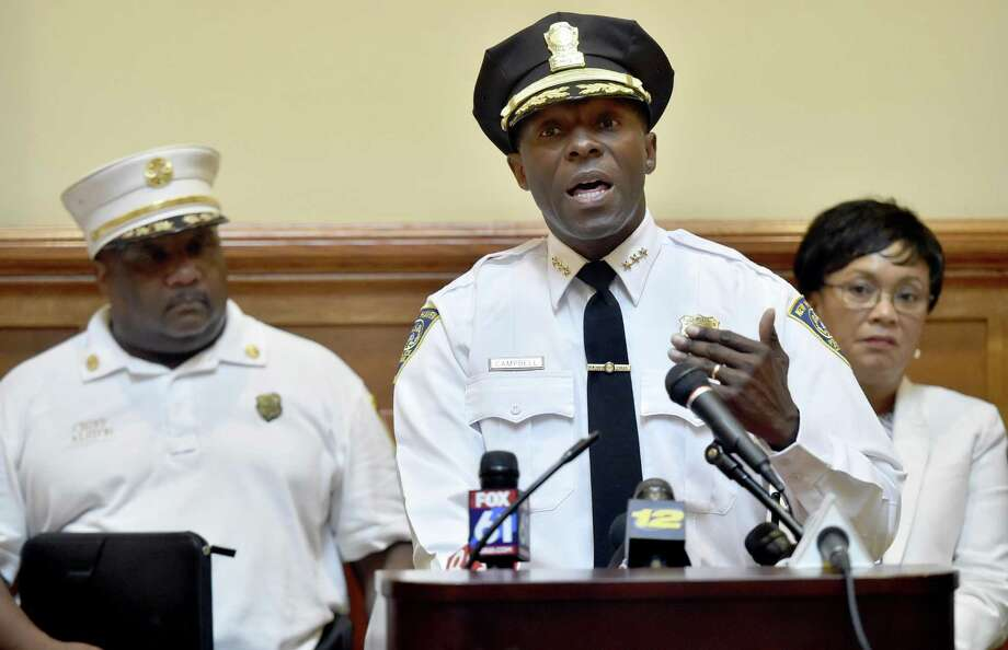 New Haven Fire Chief John Alston, Jr., Police Chief Anthony Campbell, and New Haven Mayor Toni Harp, during a press conference at New Haven City Hall Friday afternoon where they announced arrests of suspects in connection with recent K-2 overdoses in the city in August 2018. Photo: Peter Hvizdak / Hearst Connecticut Media / New Haven Register