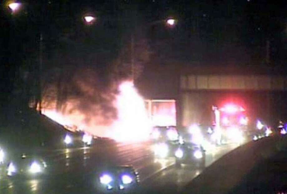 Tractor trailer fire in Westport, Conn., on Feb. 9, 2019. Photo: Contributed Photo / CTDOT / Contributed Photo / Connecticut Post Contributed