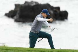 PEBBLE BEACH, CALIFORNIA - FEBRUARY 09: Jordan Spieth of the United States climbs form a bunker on the eighth hole during the third round of the AT&T Pebble Beach Pro-Am at Pebble Beach Golf Links on February 09, 2019 in Pebble Beach, California. (Photo by Harry How/Getty Images)