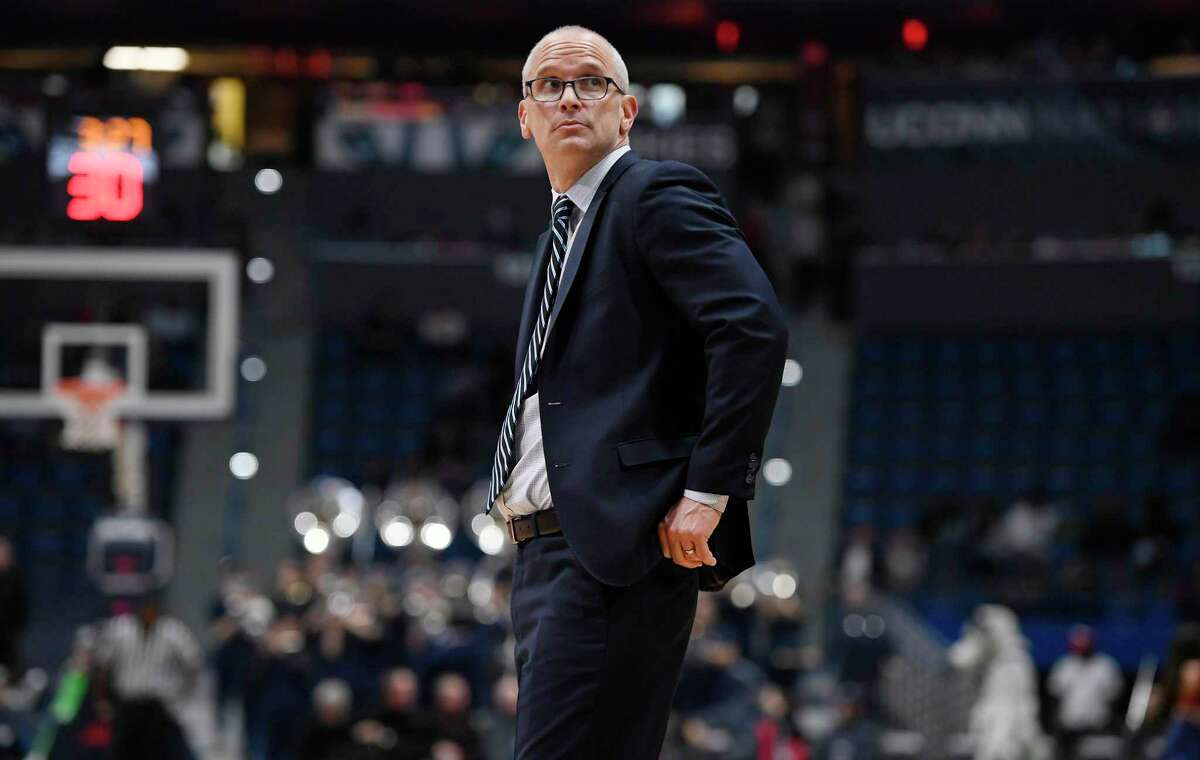 UConn coach Dan Hurley during the second half of a game on Dec. 5, 2018, in Hartford.