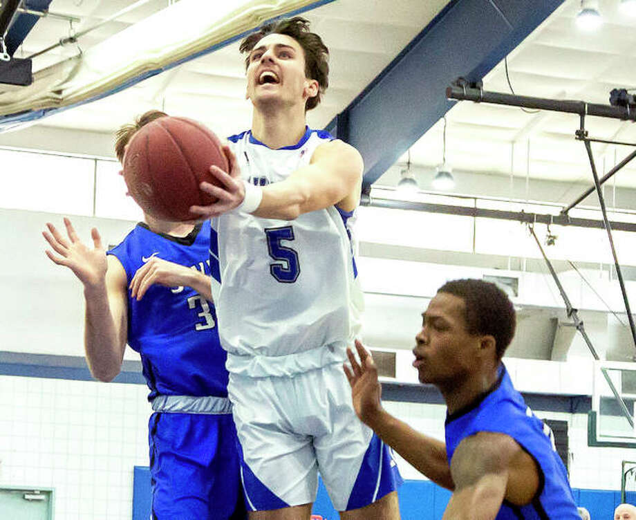 LCCC's Ben Wright (5) drives to the basket in Saturday's loss to Southwestern Illinois College at the River Bend Arena. Wright scored 10 points for the Trailblazers. Photo: Jan Dona | For The Telegraph
