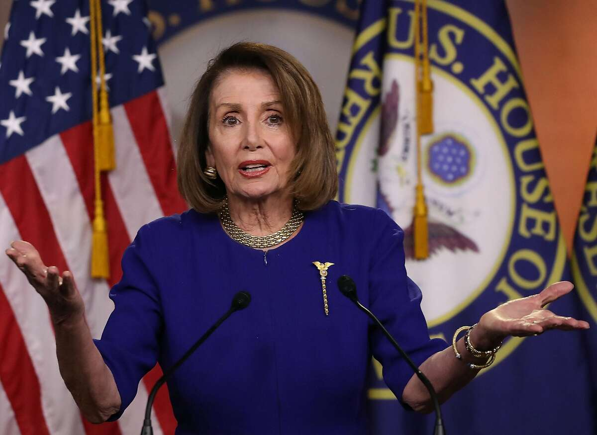 WASHINGTON, DC - FEBRUARY 07: U.S. Speaker of the House Nancy Pelosi speaks during her weekly news conference on February 7, 2019 in Washington, DC. Pelosi answered questions ranging from House investigations of President Trump to the recent political scandals in Virginia. (Photo by Mark Wilson/Getty Images)