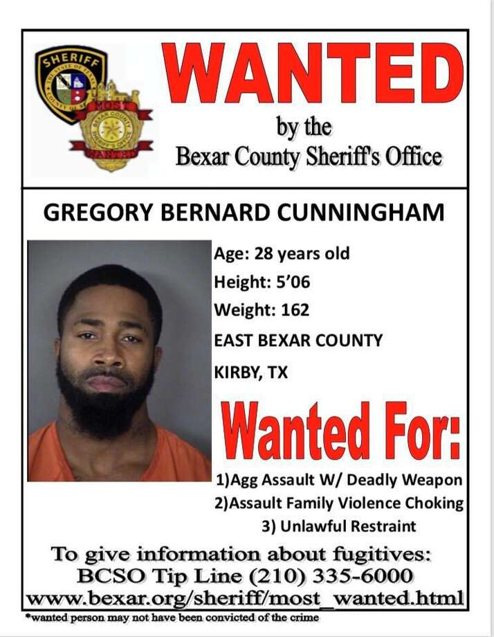 Gregory Bernard Cunningham, 28, is wanted for aggravated assault with a deadly weapon, assault family violence – choking/strangulation and unlawful restraint. Photo: Bexar County Sheriff's Office