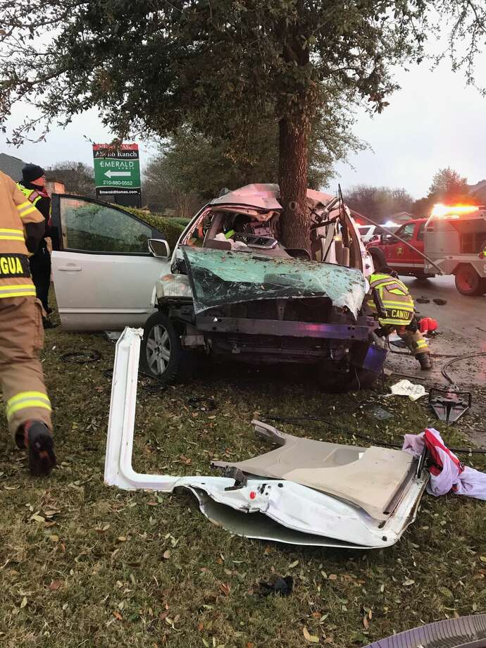 Two teenagers were transported to a San Antonio hospital after crashing Saturday, Feb. 9, in the 5700 block of Roft Road. Photo: Bexar County Sheriff's Office