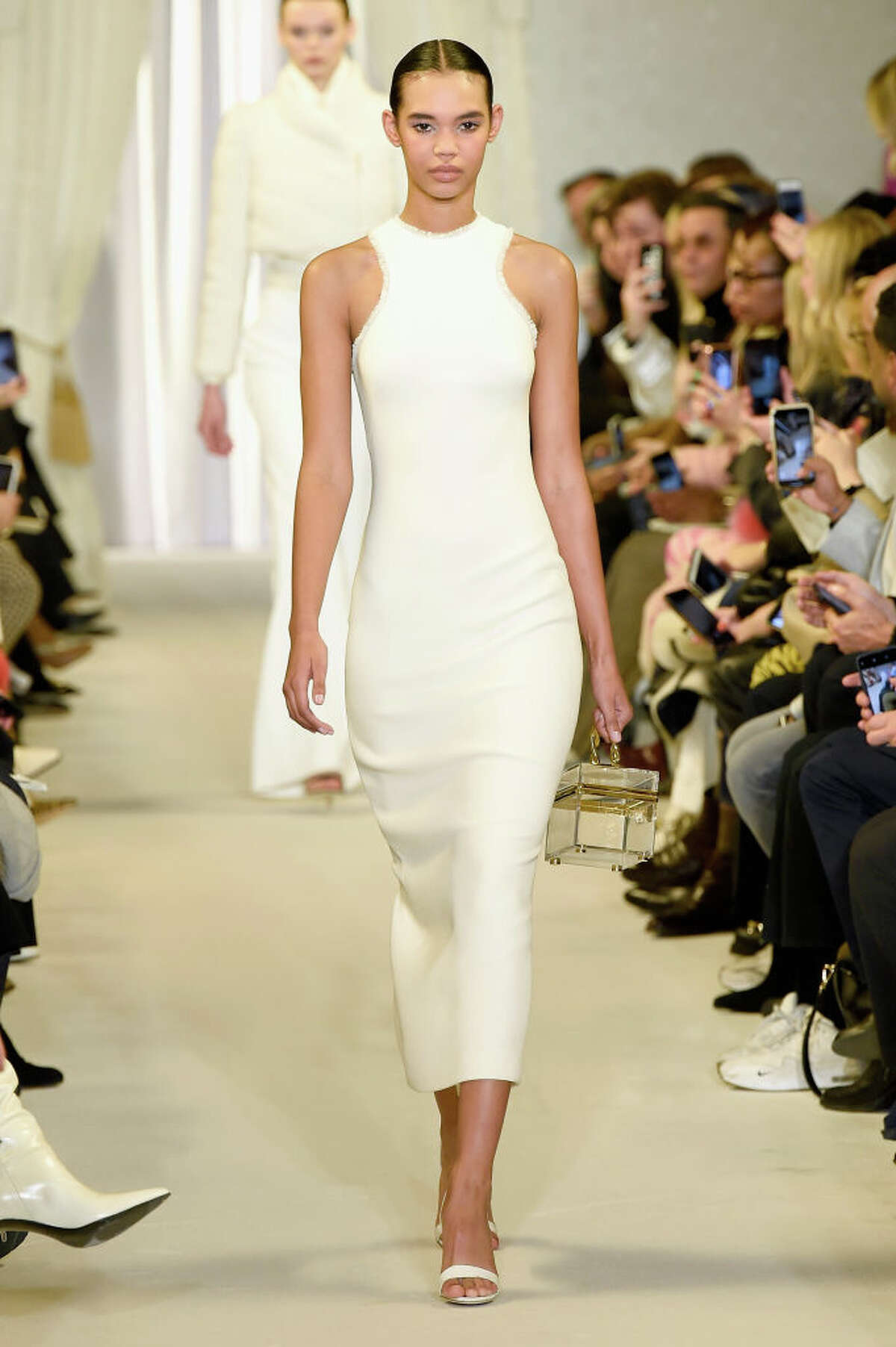 NEW YORK, NY - FEBRUARY 09: A model walks the runway for the Brandon Maxwell fashion show during New York Fashion Week: The Shows at Penn Plaza Pavilion on February 9, 2019 in New York City. (Photo by Slaven Vlasic/Getty Images for NYFW: The Shows) Brandon Maxwell's designs at New York Fashion Week on February 9,2019.