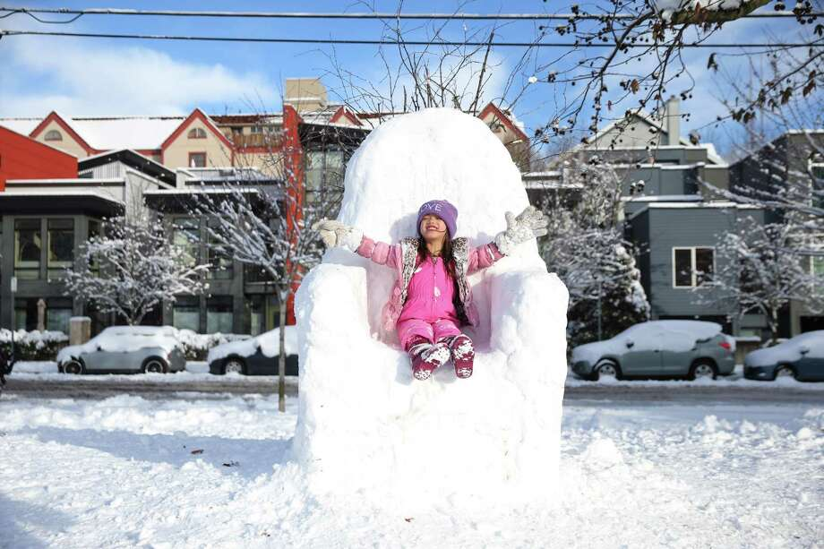 Aria Chen, 6, declares herself Queen in a snow Iron Throne as Seattlites enjoy the fresh snow at Cal Anderson Park after the city got up to eight inches in some areas over Friday night and Saturday, Jan. 9, 2019. Photo: Genna Martin, Seattlepi.com / SeattlePI