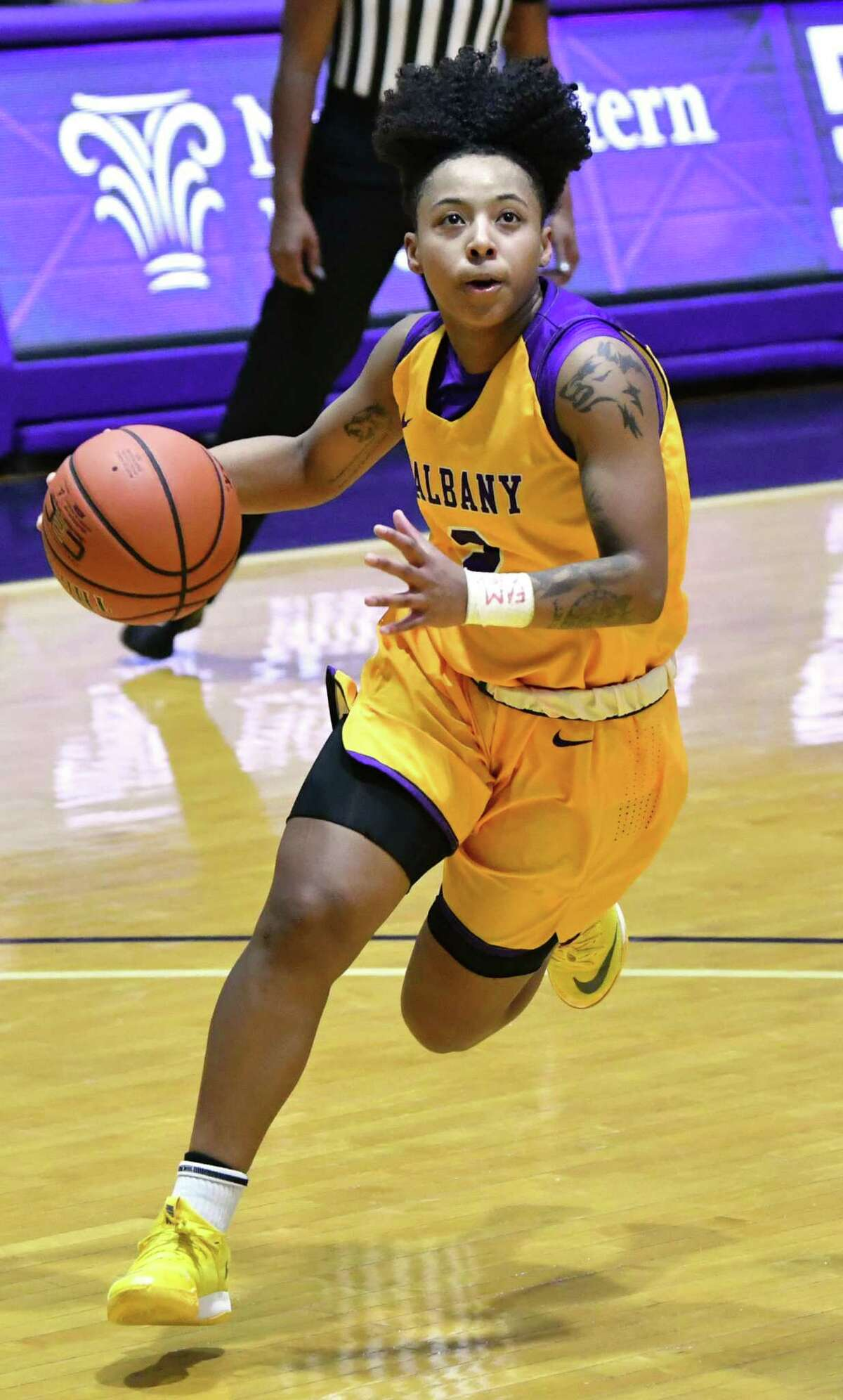 University at Albany's Kyara Frames drives to the hoop during a basketball game against Binghamton at SEFCU Arena on Wednesday, Jan. 2, 2019 in Albany, N.Y. (Lori Van Buren/Times Union)