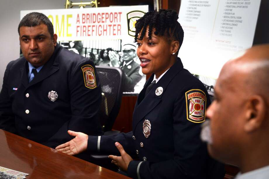 Lt. Necole Dundy-Pittman of the Bridgeport Fire Department speaks during an interview in Bridgeport, Conn. Feb. 7, 2019. She spoke about the department's current recruitment efforts. Photo: Ned Gerard / Hearst Connecticut Media / Connecticut Post