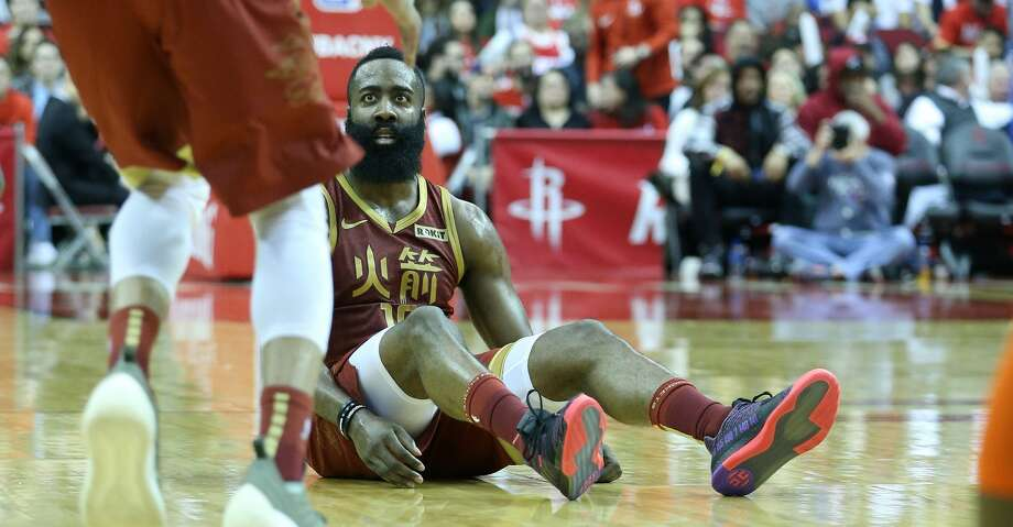 Houston Rockets guard James Harden (13) reacts to being fouled in the second half against the Oklahoma City Thunder at the Toyota Center on Friday, Feb. 9, 2018 in Houston. Houston Rockets lost the game 117-112. Photo: Elizabeth Conley/Staff Photographer