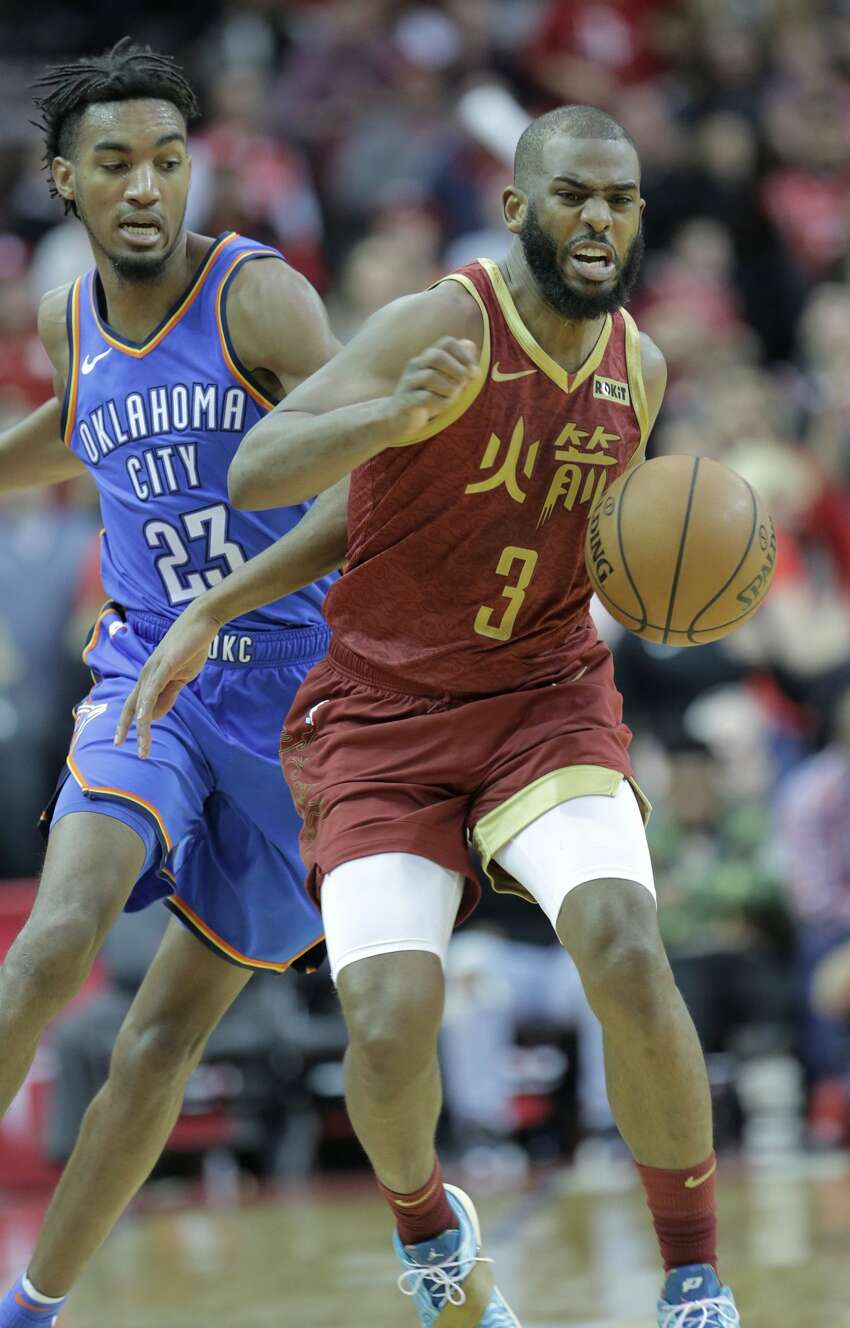 Houston Rockets guard Chris Paul (3) reacts as he is fouled after stealing the ball from Oklahoma City Thunder guard Terrance Ferguson (23) in the second half of NBA game action at the Toyota Center on Saturday, Feb. 9, 2019 in Houston. Houston Rockets lost the game 117-112.