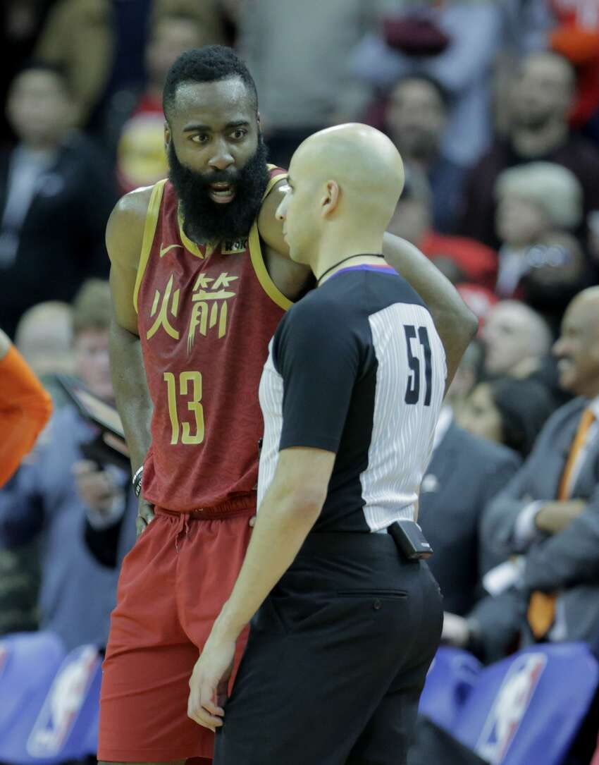 Houston Rockets guard James Harden (13) complains about a call with referee Aaron Smith (51). Houston Rockets host Oklahoma City Thunder at the Toyota Center on Saturday, Feb. 9, 2019 in Houston. Houston Rockets lost the game 117-112.