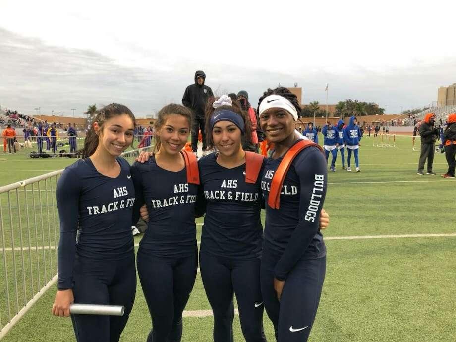 Alexander's 4x100-meter relay team of Avery Puig, Kayla Hinojosa, Krystal Villarreal and Cynthia Emeremnu won the title at the LISD Invitational. Photo: Clara Sandoval / Laredo Morning Times