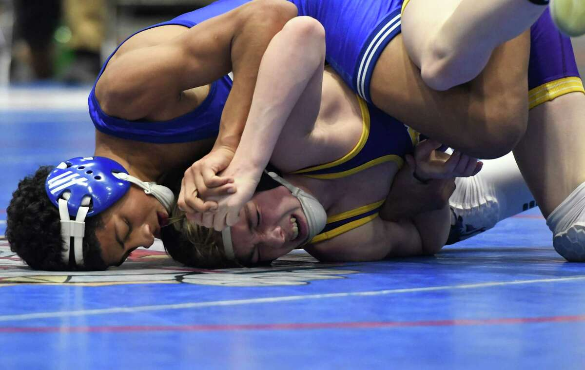 Shaker's Jason Holmes wrestles Ballston Spa's Nick Palso in the division I 99-lb. weight class final of the Section II wrestling championships at Cool Insuring Arena in Glens Falls, N.Y., on Saturday, Feb. 9, 2018. (Jenn March, Special to the Times Union )