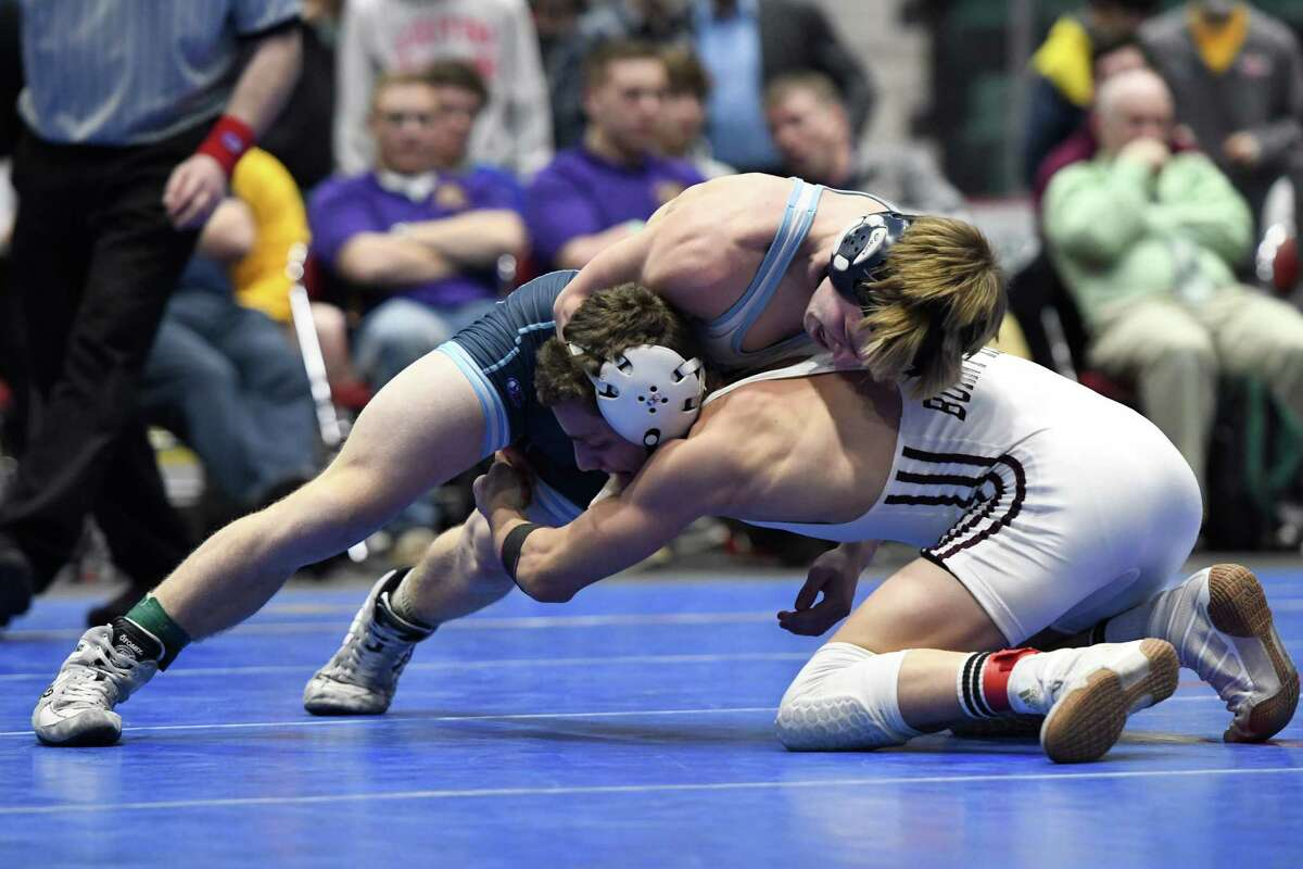 Columbia's Aiden Scott wrestles Burnt Hills's John Deconno in the division I 120-lb. weight class final of the Section II wrestling championships at Cool Insuring Arena in Glens Falls, N.Y., on Saturday, Feb. 9, 2018. (Jenn March, Special to the Times Union )