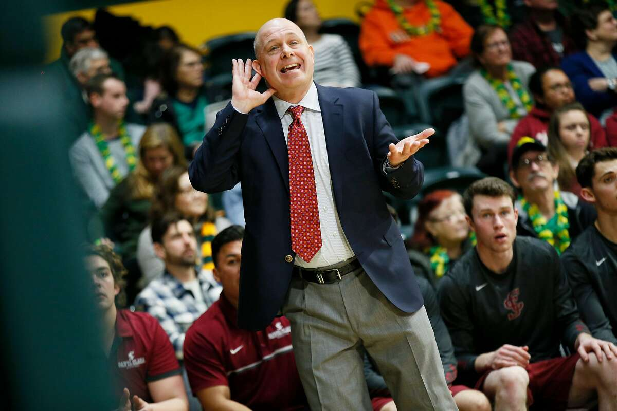 Santa Clara Broncos head coach Herb Sendek gestures to the referee in the first half of an NCAA men's basketball game against the San Francisco Dons on Saturday, Feb. 9, 2019, in San Francisco, Calif.