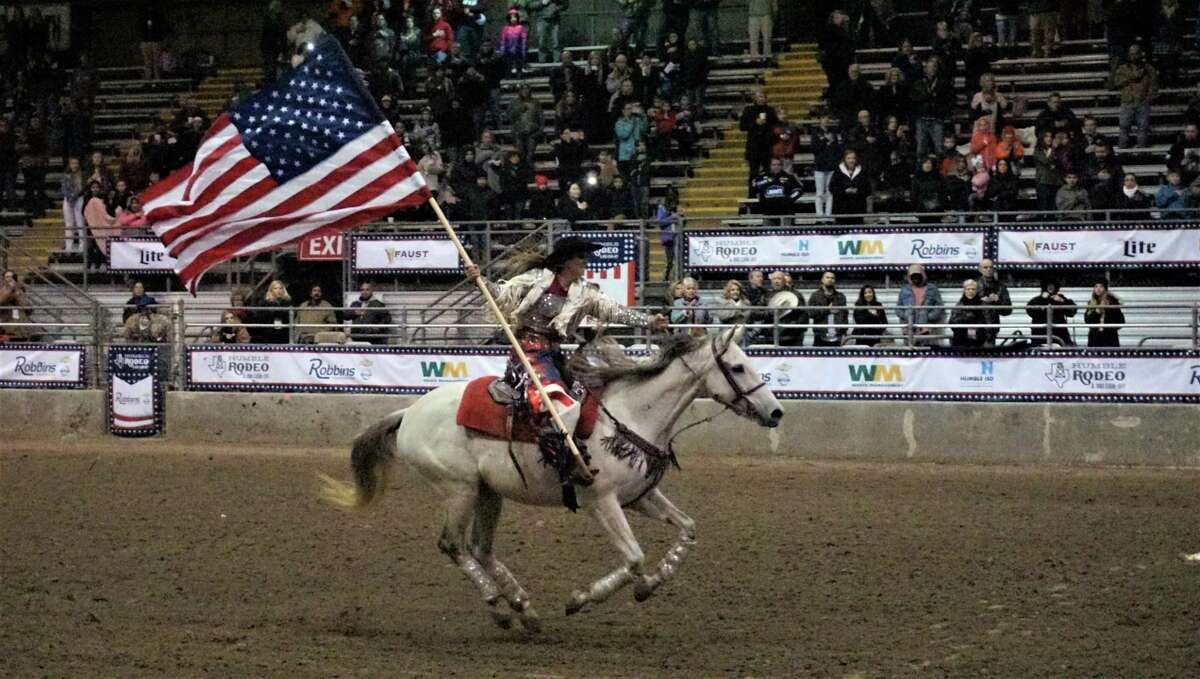 The rodeo events at the 72nd Humble Rodeo & BBQ Cook-Off from Feb. 1 to Feb. 9, 2019 begin with a showcase of the flags and a rendition of the National Anthem.