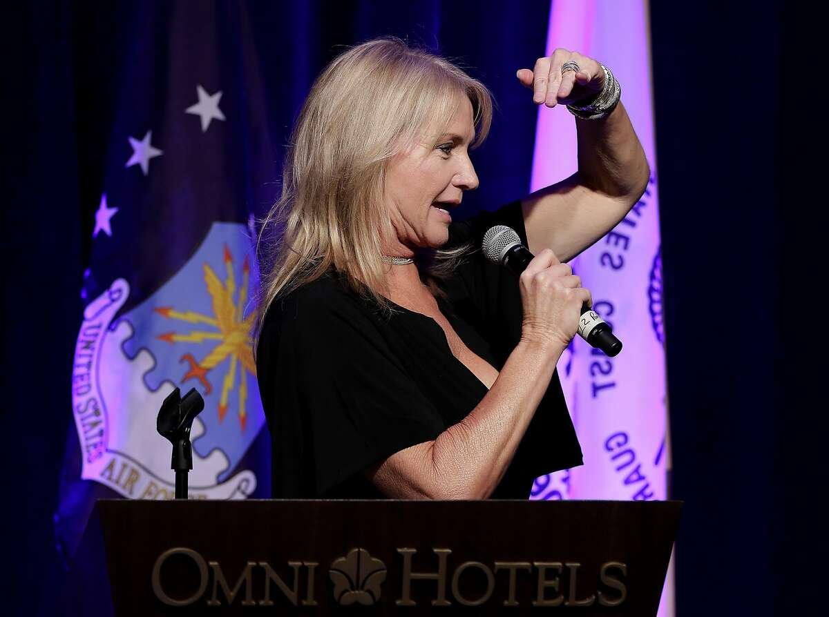 Suzi Hanks looks for bids as she leads the live auction during the Salute to Our Heroes gala at the Omni Houston Hotel Saturday, Feb. 9, 2019 in Houston, TX.