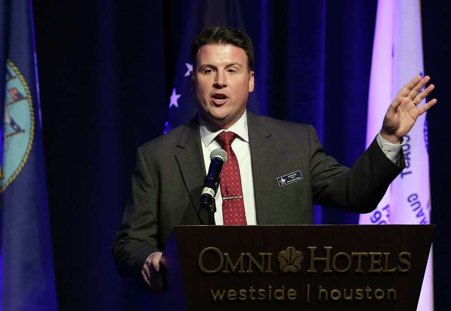 Justin Ray, right, brother of Jeremy Ray, presents the 1st Lieutenant Jeremy Ray Community Service and Peace Award to Deena Morgan during the Salute to Our Heroes gala at the Omni Houston Hotel Saturday, Feb. 9, 2019 in Houston, TX. Photo: Michael Wyke, Houston Chronicle / Contributor / © 2019 Houston Chronicle