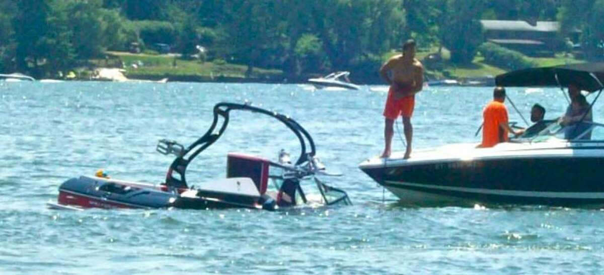 A disabled craft was pulled to safety last Sunday on Candlewood Lake in Brookfield.