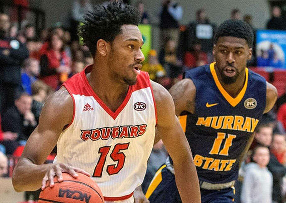 SIUE's David McFarland (15) drives on Murray State's Shaq Buchanan in a game earlier this season at Vaadalabene Center in Edwardsville. On Saturday night at Murray State, McFarland scored 14 points in the Cougars loss to the Racers in Murray, Kentucky. Photo: SIUE Athletics