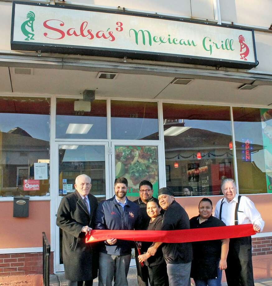 Salsa's 3 Mexican Grill held a grand opening Feb. 4 at 120 Washington St., Middletown. From left are Middlesex County Chamber of Commerce President Larry McHugh, Mayor Dan Drew, Salsa's 3 Owners Jose Melchor, Maria Lopez and Leon Lopez, Irais Melchor and Chamber Chairman Jay Polke. Photo: Contributed Photo