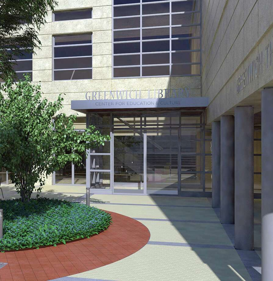 An artist's rendering shows the plans for the new entrance to the Greenwich Library. Photo: Contributed Image