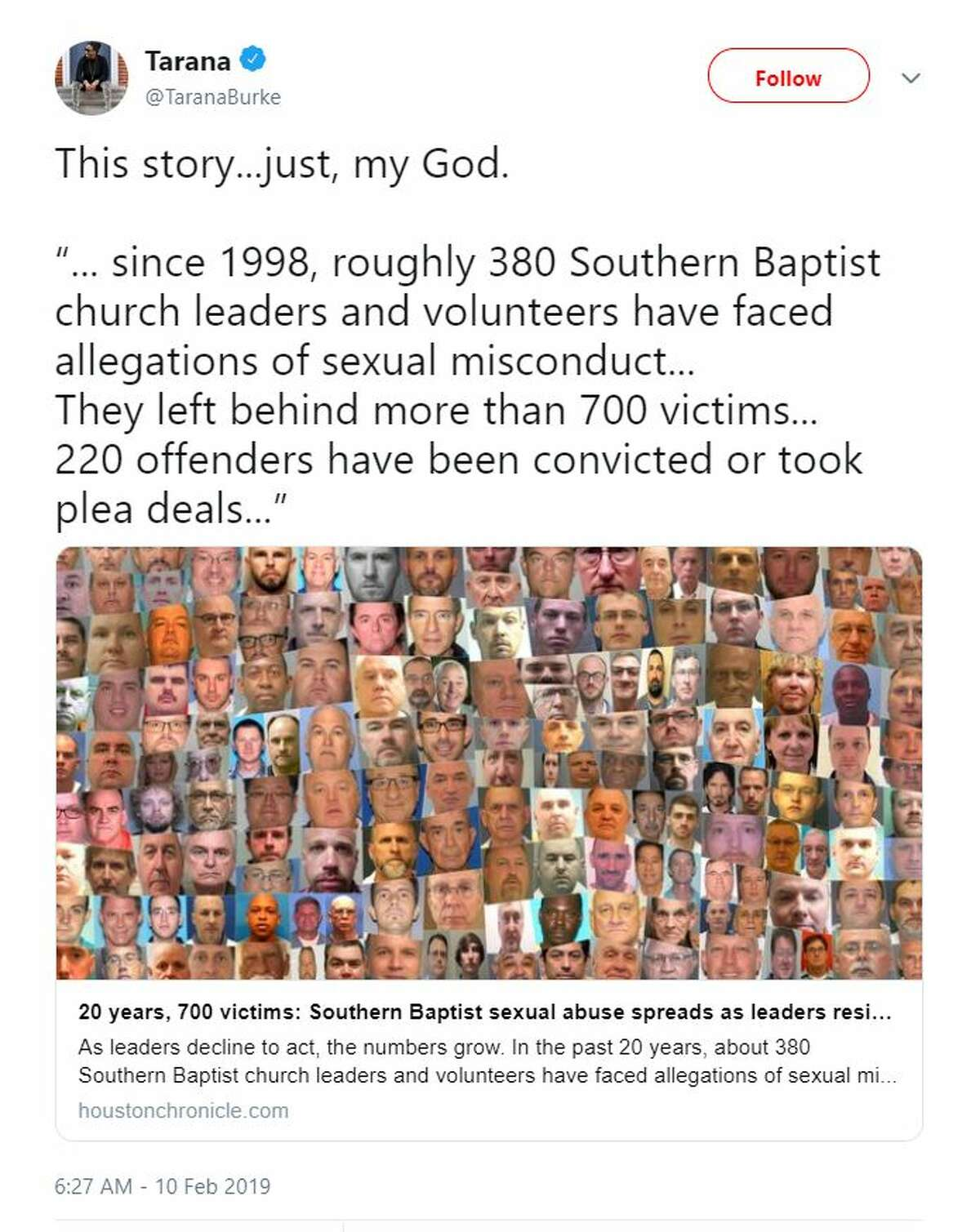 """""""This story...just, my God. '... since 1998, roughly 380 Southern Baptist church leaders and volunteers have faced allegations of sexual misconduct... They left behind more than 700 victims... 220 offenders have been convicted or took plea deals...'"""" - @TaranaBurke"""