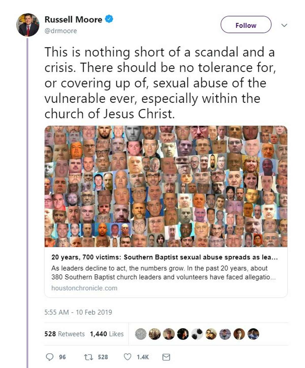 """""""This is nothing short of a scandal and a crisis. There should be no tolerance for, or covering up of, sexual abuse of the vulnerable ever, especially within the church of Jesus Christ."""" - @drmoore"""