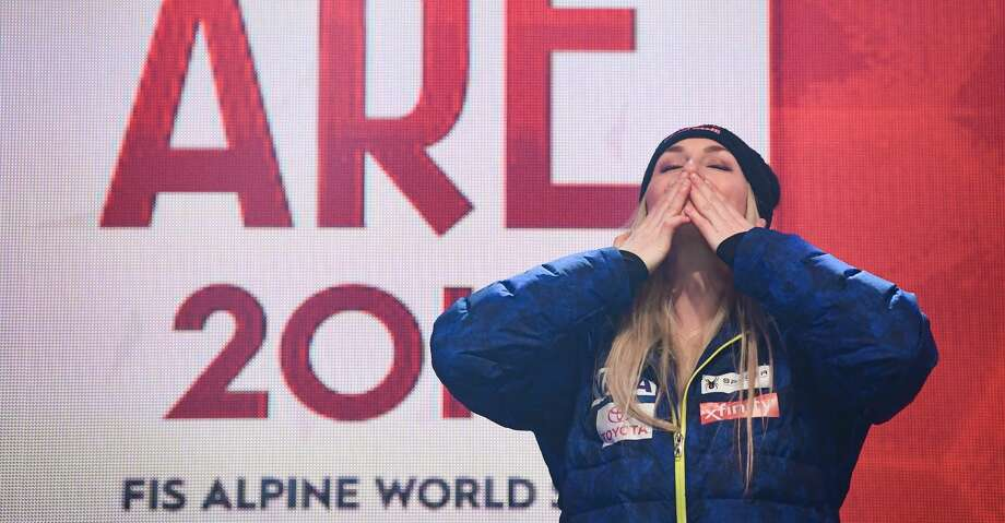 US Lindsey Vonn reacts during the medal ceremony of the Women's Downhill event of the 2019 FIS Alpine Ski World Championships in Are, Sweden on February 10, 2019. (Photo by Jonathan NACKSTRAND / AFP)JONATHAN NACKSTRAND/AFP/Getty Images Photo: JONATHAN NACKSTRAND/AFP/Getty Images