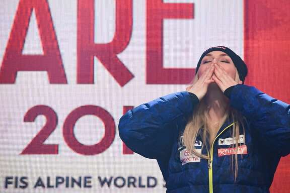 US Lindsey Vonn reacts during the medal ceremony of the Women's Downhill event of the 2019 FIS Alpine Ski World Championships in Are, Sweden on February 10, 2019. (Photo by Jonathan NACKSTRAND / AFP)JONATHAN NACKSTRAND/AFP/Getty Images