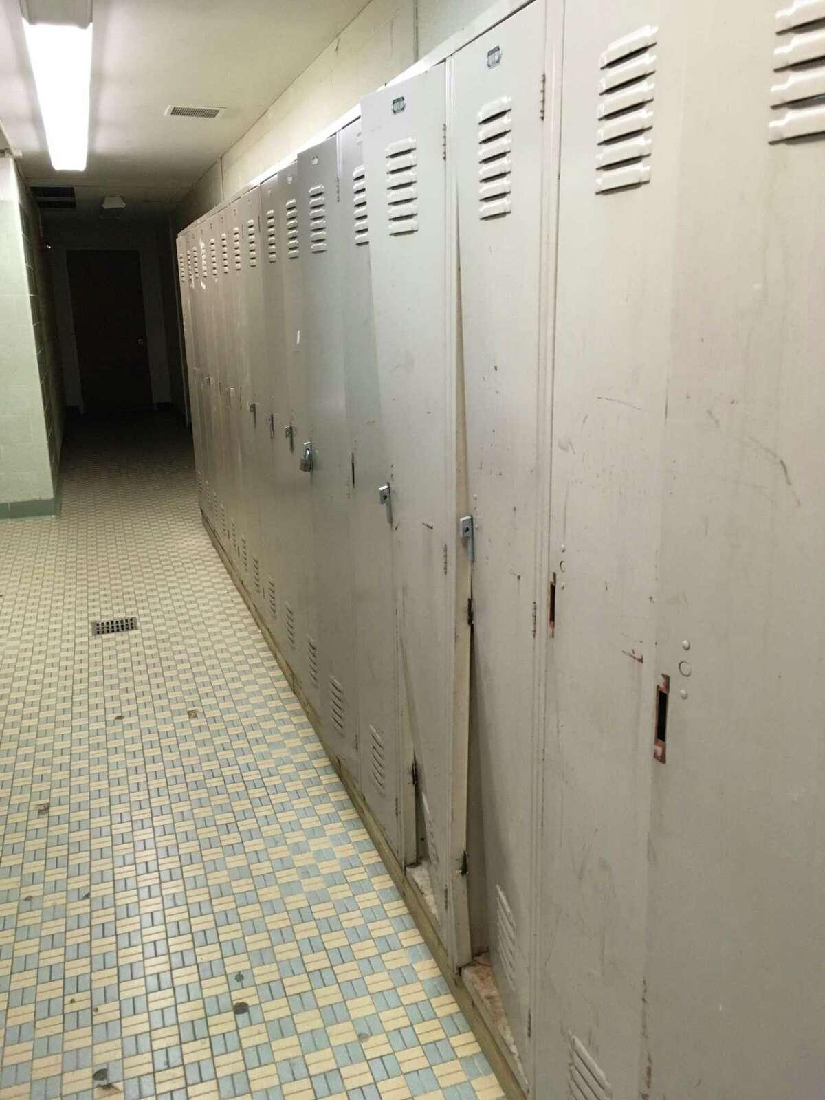 The boys' locker room in North Branford High School, Feb. 8, 2019.