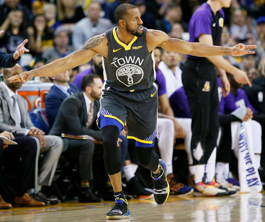 Golden State Warriors guard Andre Iguodala (9) after making a three point basket against the Los Angeles Lakers in the second half of an NBA game at Oracle Arena on Saturday, Feb. 2, 2019, in Oakland, Calif. The Warriors won 115-101. Photo: Santiago Mejia / The Chronicle