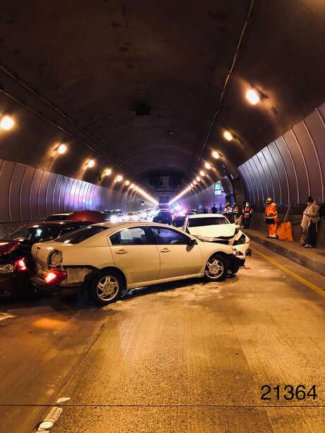 One bore of westbound State Route 24 through the Caldecott Tunnel in Oakland has reopened following a multi-car collision on Sunday, Feb. 10, 2019, according to the California Highway Patrol. Photo: CHP Oakland