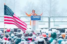 US Senator Amy Klobuchar (D-MN) announces her candidacy for president during a snow fall on February 10, 2019 in Minneapolis, Minnesota. - Klobuchar joined the ever-growing field of contenders hoping to unseat President Donald Trump in the 2020 White House race. (Photo by Kerem Yucel / AFP)KEREM YUCEL/AFP/Getty Images