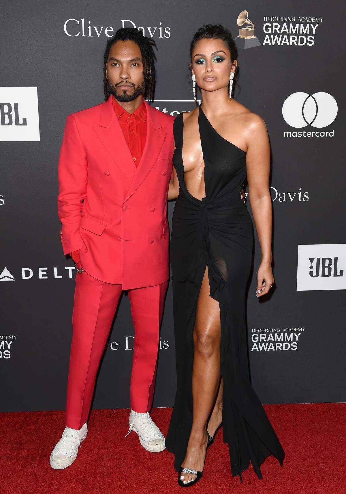 BEVERLY HILLS, CALIFORNIA - FEBRUARY 09: Miguel and Nazanin Mandi attend The Recording Academy and Clive Davis' 2019 Pre-GRAMMY Gala at The Beverly Hilton Hotel on February 09, 2019 in Beverly Hills, California. (Photo by Axelle/Bauer-Griffin/FilmMagic)