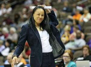 Coach Dawn Staley and 15th-ranked South Carolina take on No. 5 UConn on Monday in Hartford.