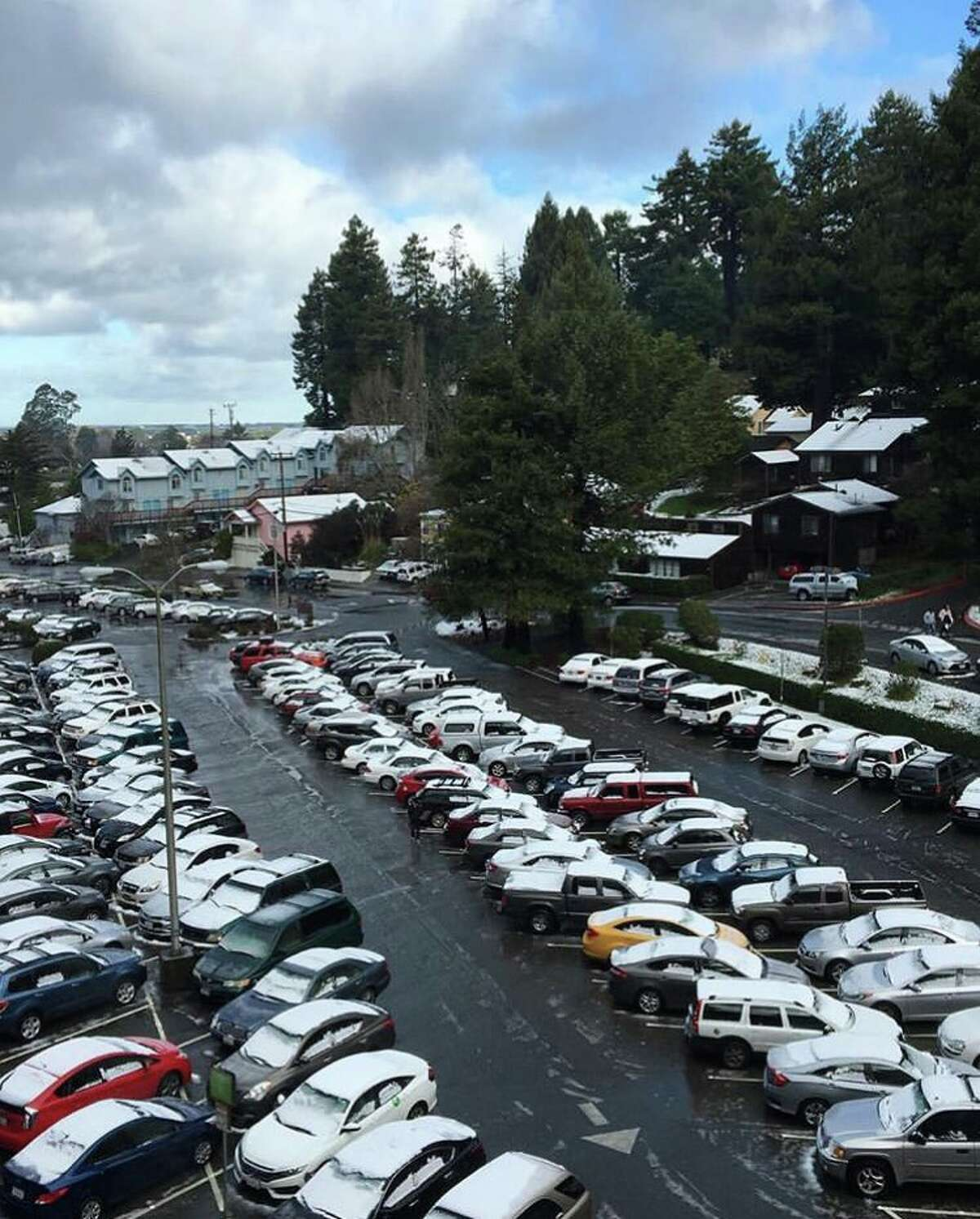 Snow on cars at Humboldt State in Arcata, Calif. on Sunday, Feb. 10, 2019.