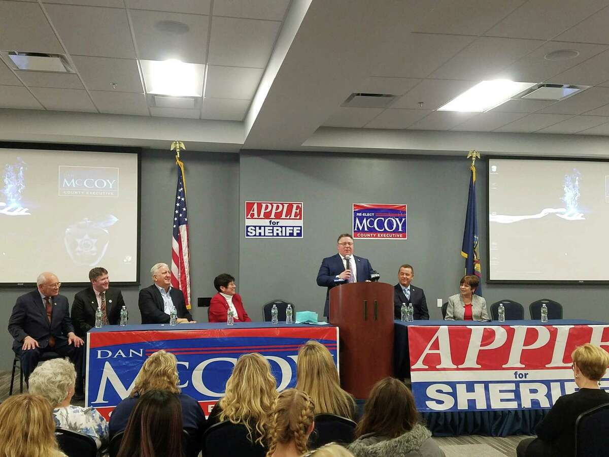 Albany County Executive Daniel P. McCoy, at podium, announced he will seek his third term in office Sunday, Feb. 10, 2019, at Carpenters Local #291 in Albany, N.Y. Albany County Sheriff, second from right, also announced he will seek a third term in office.