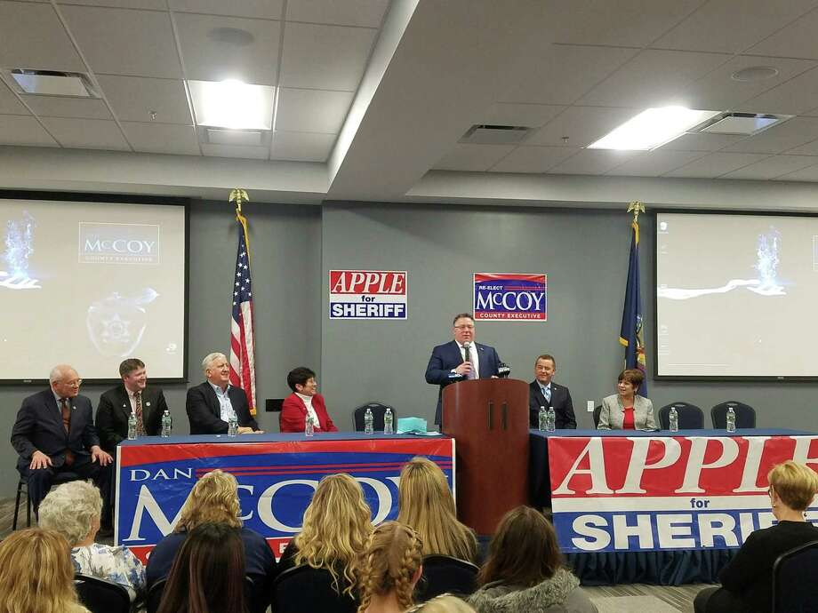 Albany County Executive Daniel P. McCoy, at podium, announced he will seek his third term in office Sunday, Feb. 10, 2019, at Carpenters Local #291 in Albany, N.Y. Albany County Sheriff, second from right, also announced he will seek a third term in office. Photo: Provided
