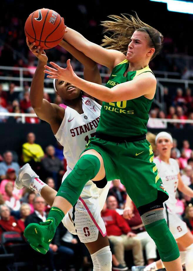Oregon's Sabrina Ionescu out rebounds Stanford's Maya Dodson in 2nd quarter during Pac 12 Women's basketball game at Maples Pavilion in Stanford, Calif., on Sunday, February 10, 2019. Photo: Scott Strazzante / The Chronicle