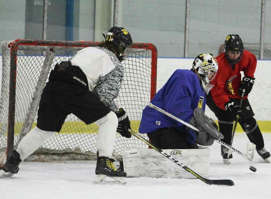 Hand sophomore goaltender Eric Dillner. Photo: Dave Phillips / For Hearst Connecticut Media