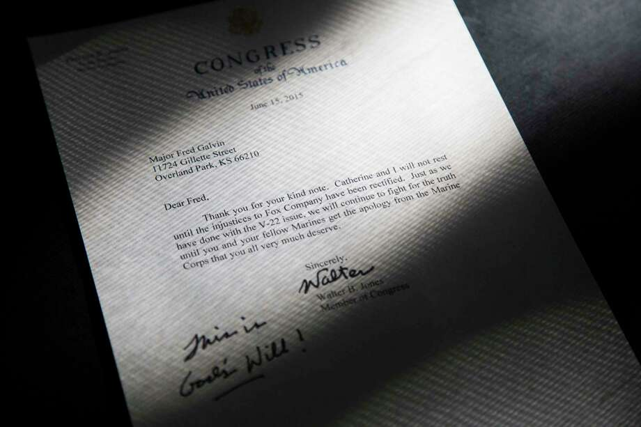 Rep. Walter Jones, R-N.C., sent this letter to Fred Galvin to offer support during a military court case the Marine veteran was going through. Photo: Photo For The Washington Post By Marie Eriel Hobro. / Marie Eriel Hobro